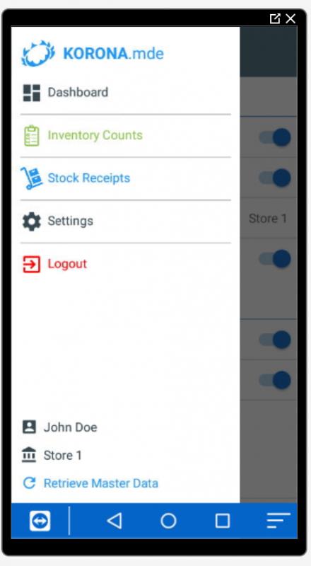 Korona App Side menu
